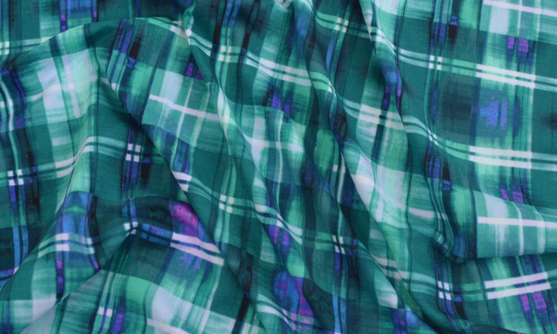 Techno Scuba Abstract Plaid Emerald/Violet 5 YARDS