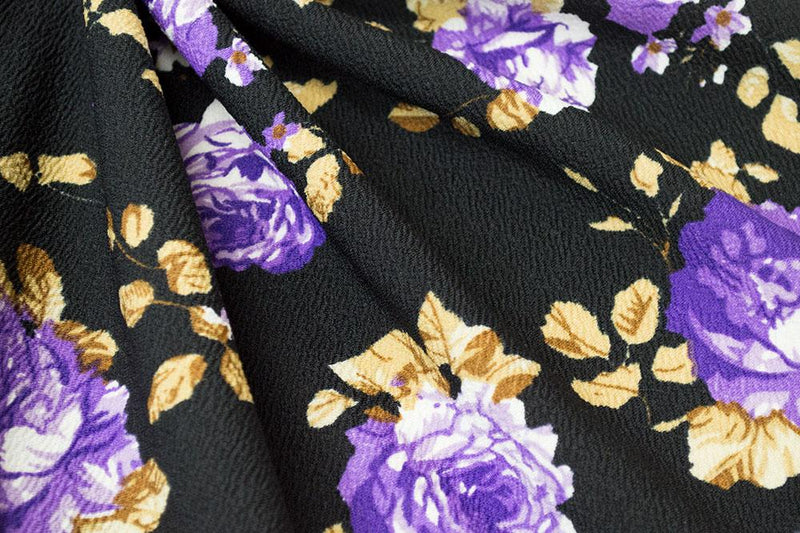 Liverpool Floral Black/Purple 5 YARDS