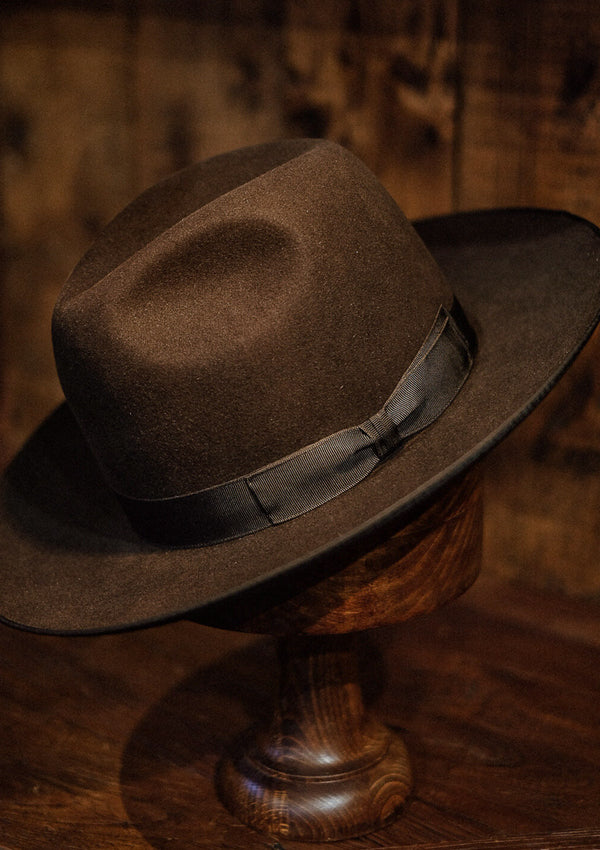 Barstow Wide Brim Fedora - Dark Brown