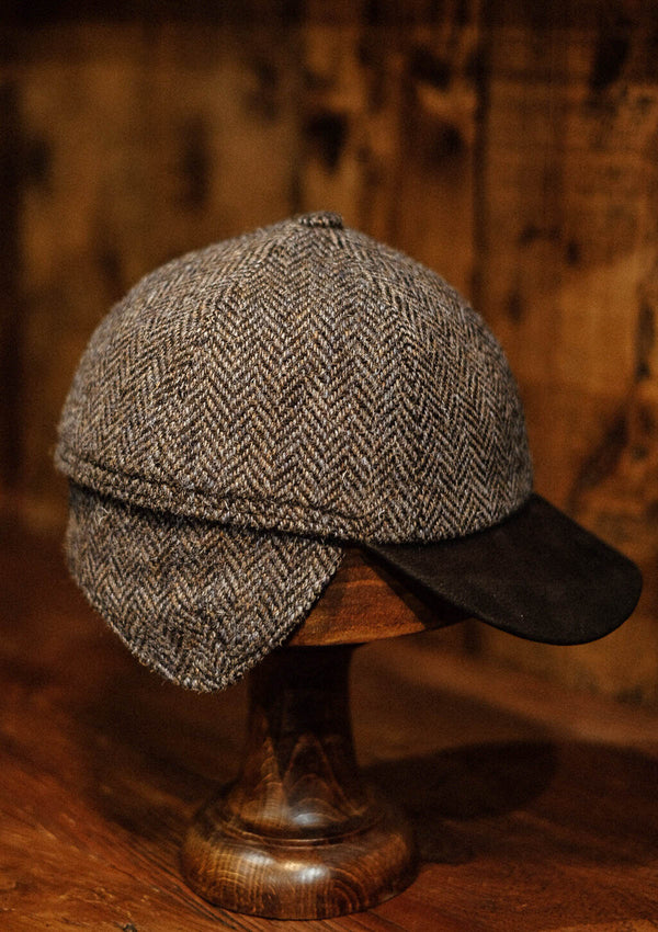 Baseball Cap - Grey Herringbone Harris Tweed