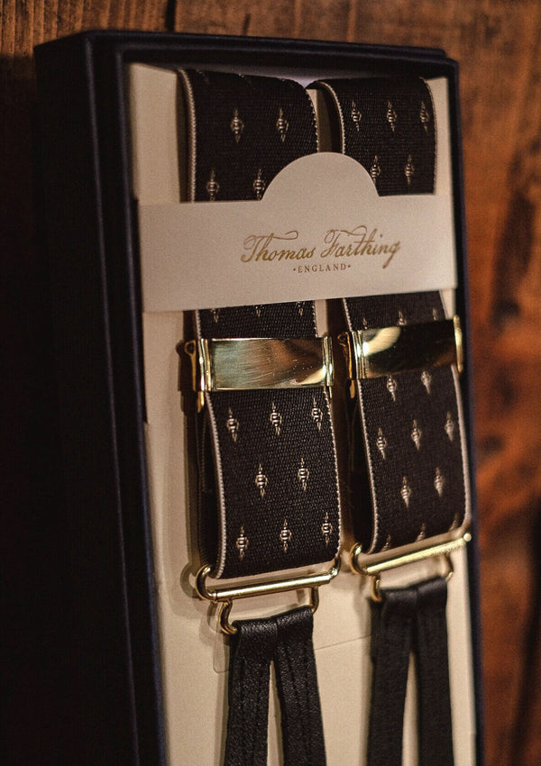 Button Braces - Black/Gold