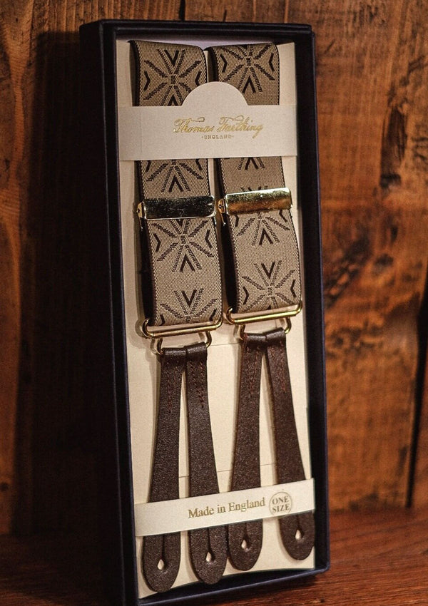 Button Braces - Khaki/Brown