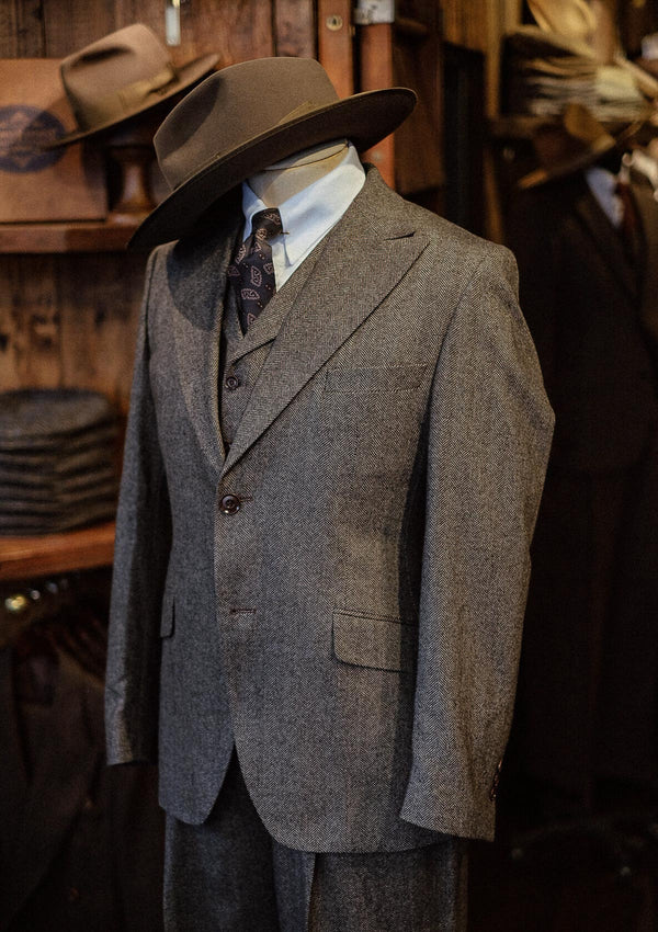 Brockman Jacket - Stone Grey Herringbone