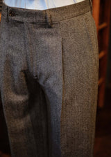 Brockman Classic Suit Trousers - Stone Grey Herringbone