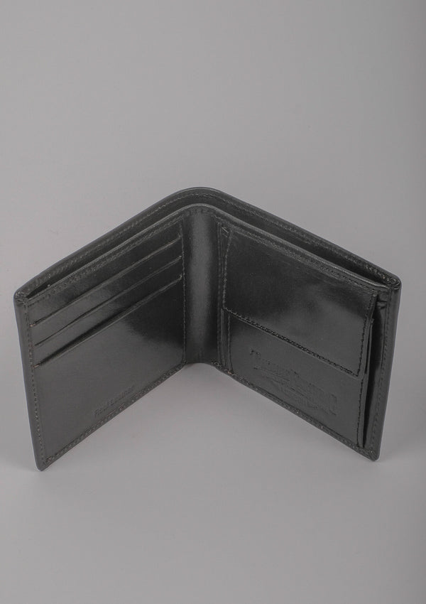 Folding Card and Coin Wallet - Black Leather