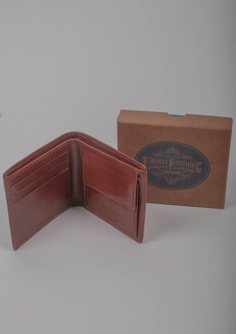 Folding Card and Coin Wallet - Brown Leather