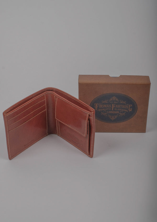 Folding Card and Coin Wallet - Tan Leather
