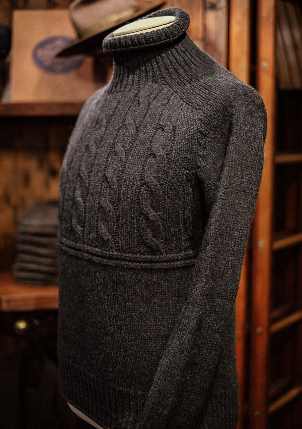Clapperton Half Cable Knit - Dark Grey