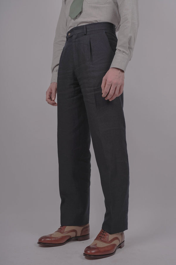Capri Linen Trousers - Navy