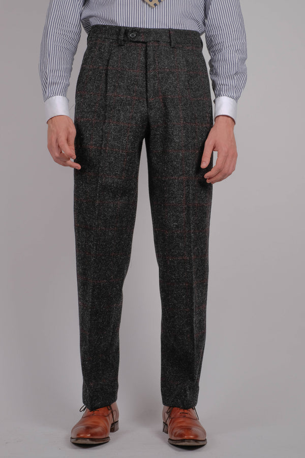 Edison Harris Tweed Trousers - Red Check