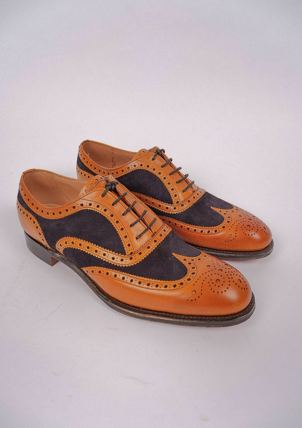 Edwin Two Tone Oxford Brogue - Chestnut/ Navy Suede