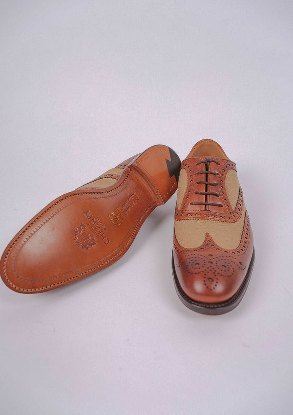 Edwin Two Tone Oxford Brogue - Chestnut/ Sand Canvas