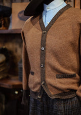Fawcett Lambs Wool Cardigan - Rust