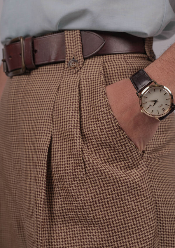 Gene Trousers - Brown Houndstooth