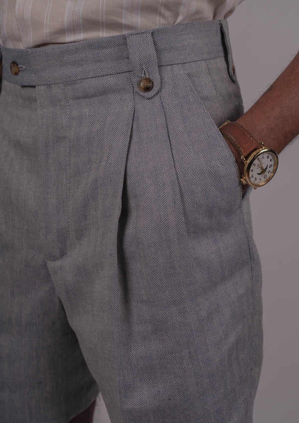 Gene Shorts - Light Blue Herringbone
