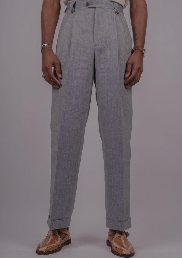 Gene Trousers - Light Blue Herringbone