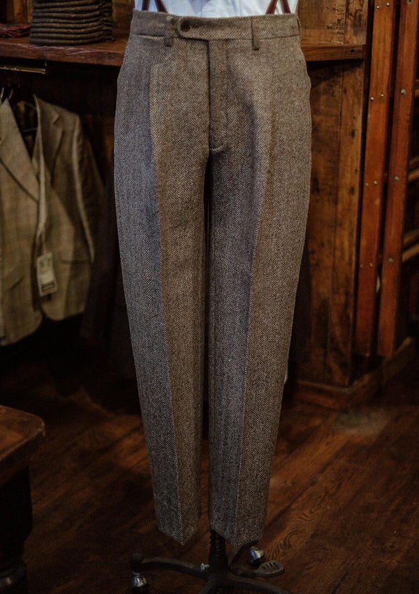 Granger Classic Suit Trousers - Undyed Natural Herringbone