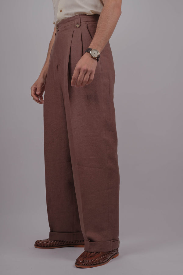 Janeiro Gene Linen Trousers - Clay Brown