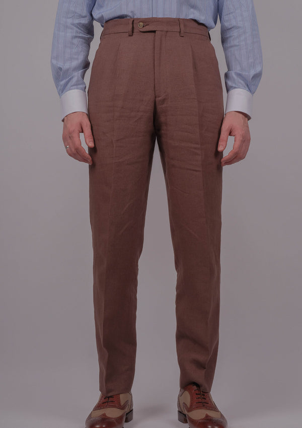 Janeiro Linen Trousers - Clay Brown