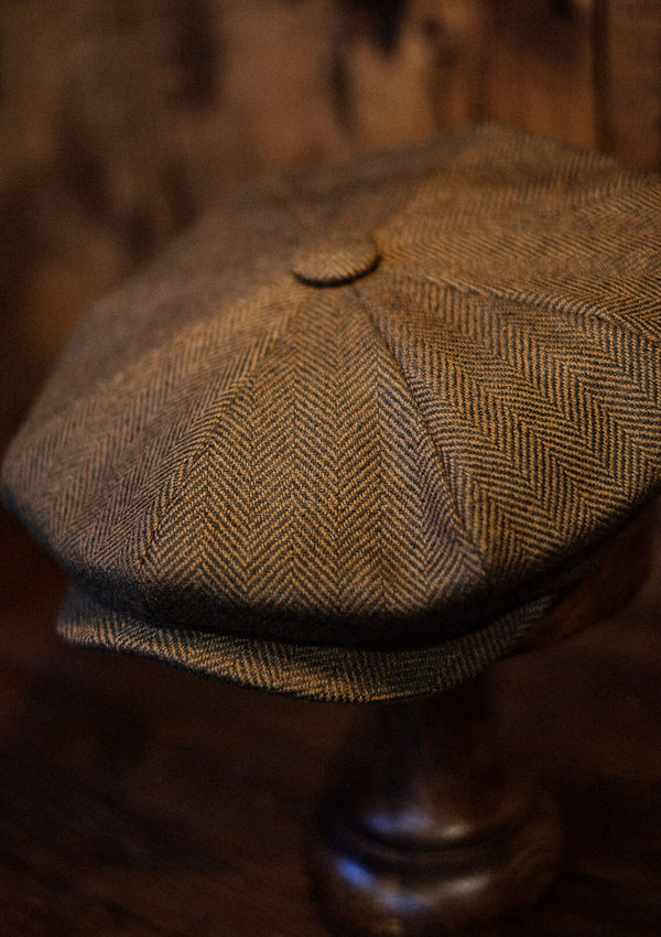 Johnson Baker Boy - (Wide-Width) Brown Herringbone