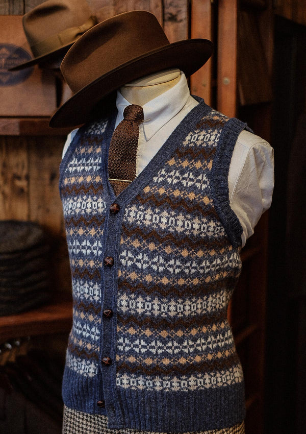 Lambert Fair Isle - Atlantic Blue Button Down