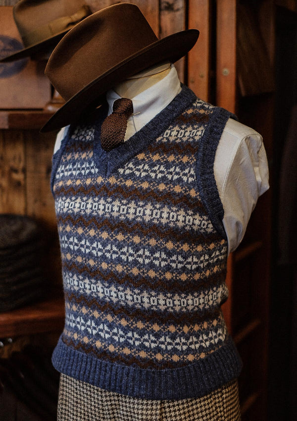 Lambert Fair Isle - Atlantic Blue V-Neck