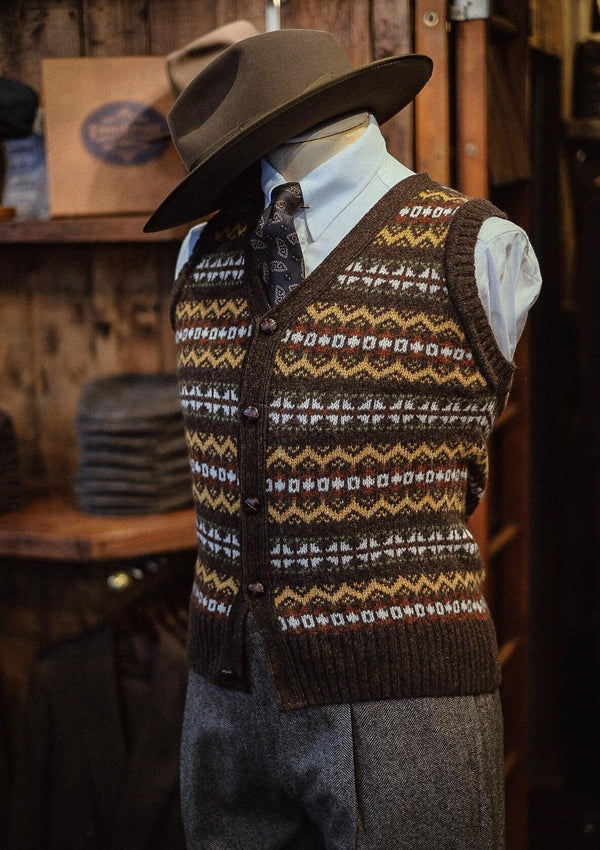 Lambert Fair Isle - Walnut Brown Button Down