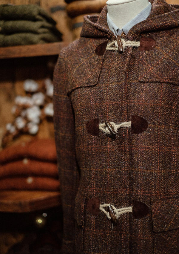 Margot Ladies Duffle Coat - Brown Harris Tweed
