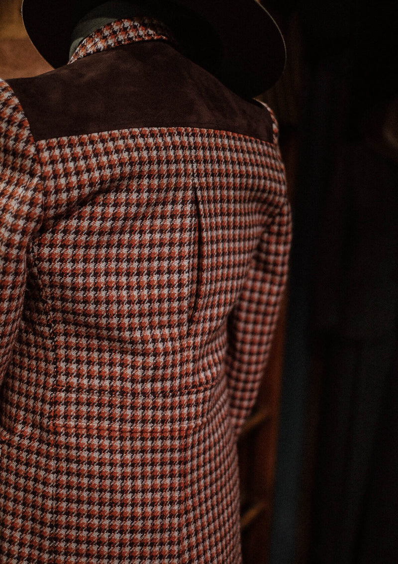 Montana Jacket - Orange/Cream Houndstooth Harris Tweed