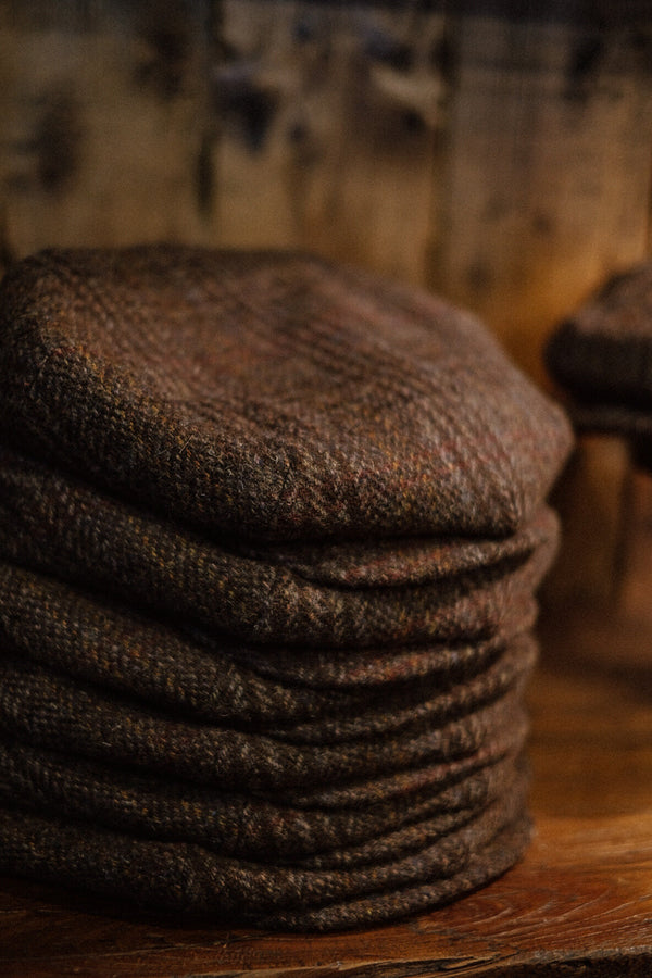 Regency 50 Pence Flat Cap - Brown Check Harris Tweed