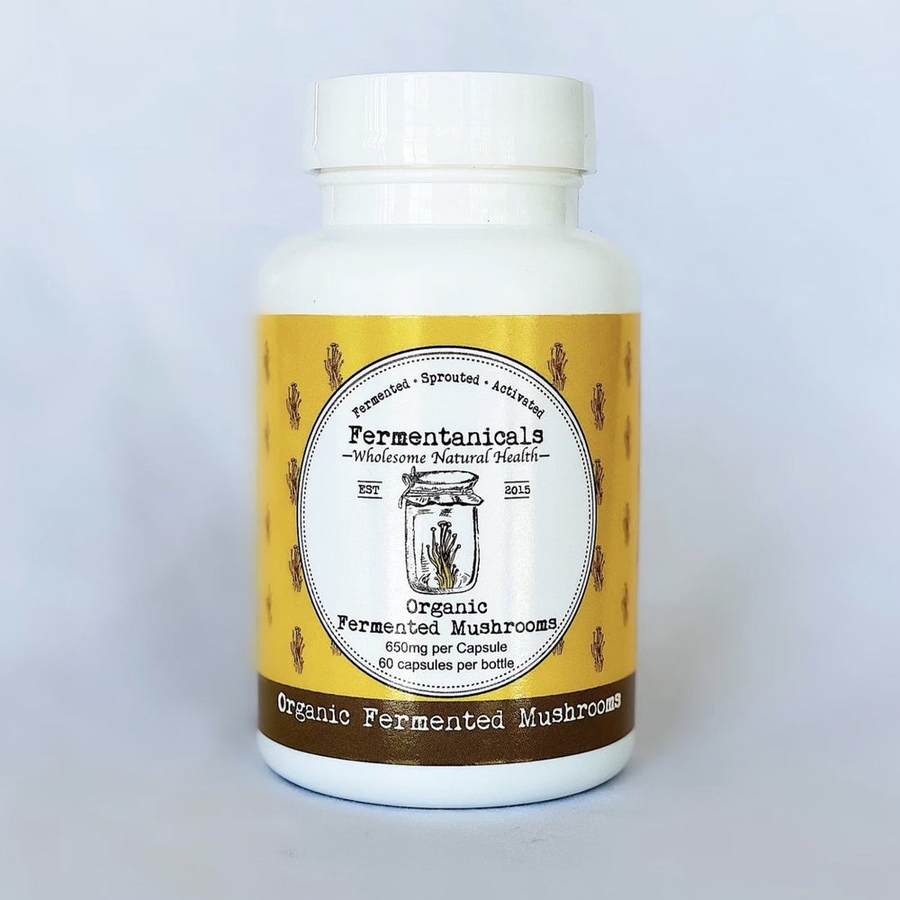 Organic Fermented Medicinal Mushrooms 650mg per cap/60 per bottle