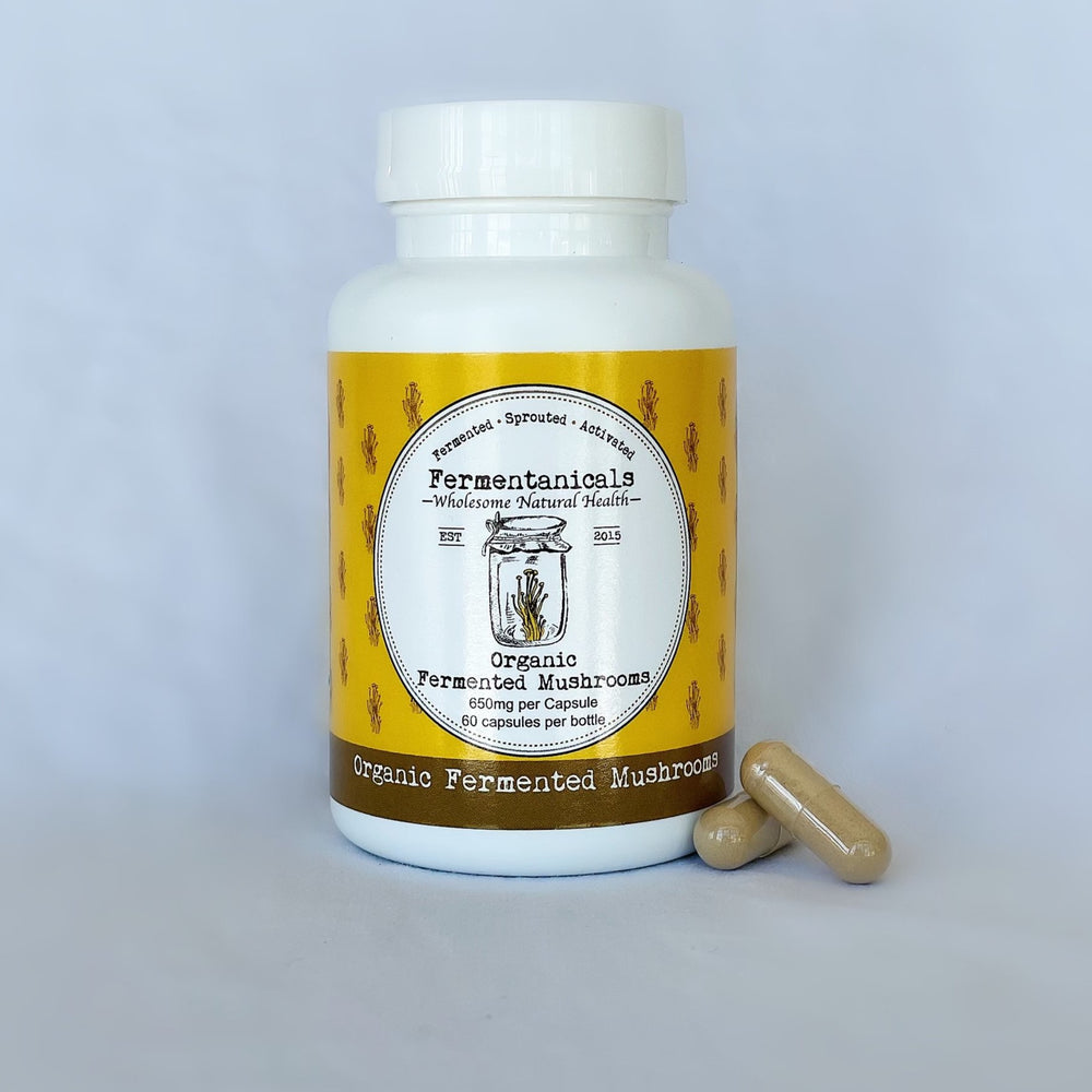 Organic Fermented Mushrooms bottle with capsules