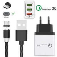 For Samsung Galaxy J4 J6 J7 J8 S7 ZTE Blade L8 A5 Realme 3 Pro android cellphone QC 3.0 Fast charger & magnetic Micro USB Cable