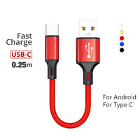 25cm for Android Type C Micro USB Short Car Cable Fast Charger Cord for Sam sung Redmi 7 Hua wei Portable Charging cables