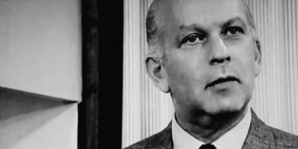 Photograph of Bill Bernbach explaining that creativity is the last unfair and totally legal advantage over competitor