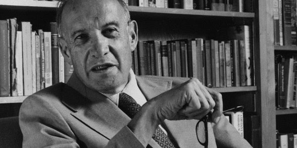 Photograph of Peter Drucker explaining that doing something new requires you to stop doing something old