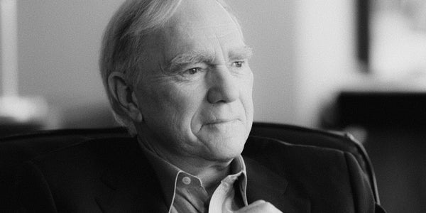 Portrait of Robert McKee explaining the importance of story in an interview with the Harvard Business Review