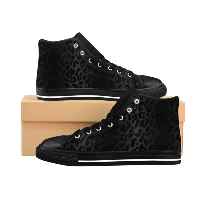 1 Women's High-top Sneakers Black Leopard Print by Calico Jacks