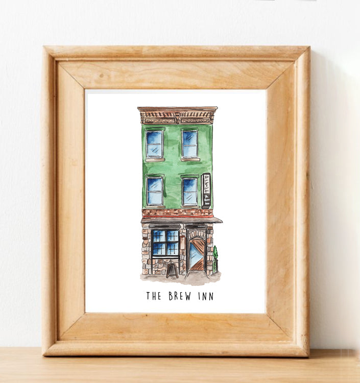 Brew Inn Watercolor Illustration