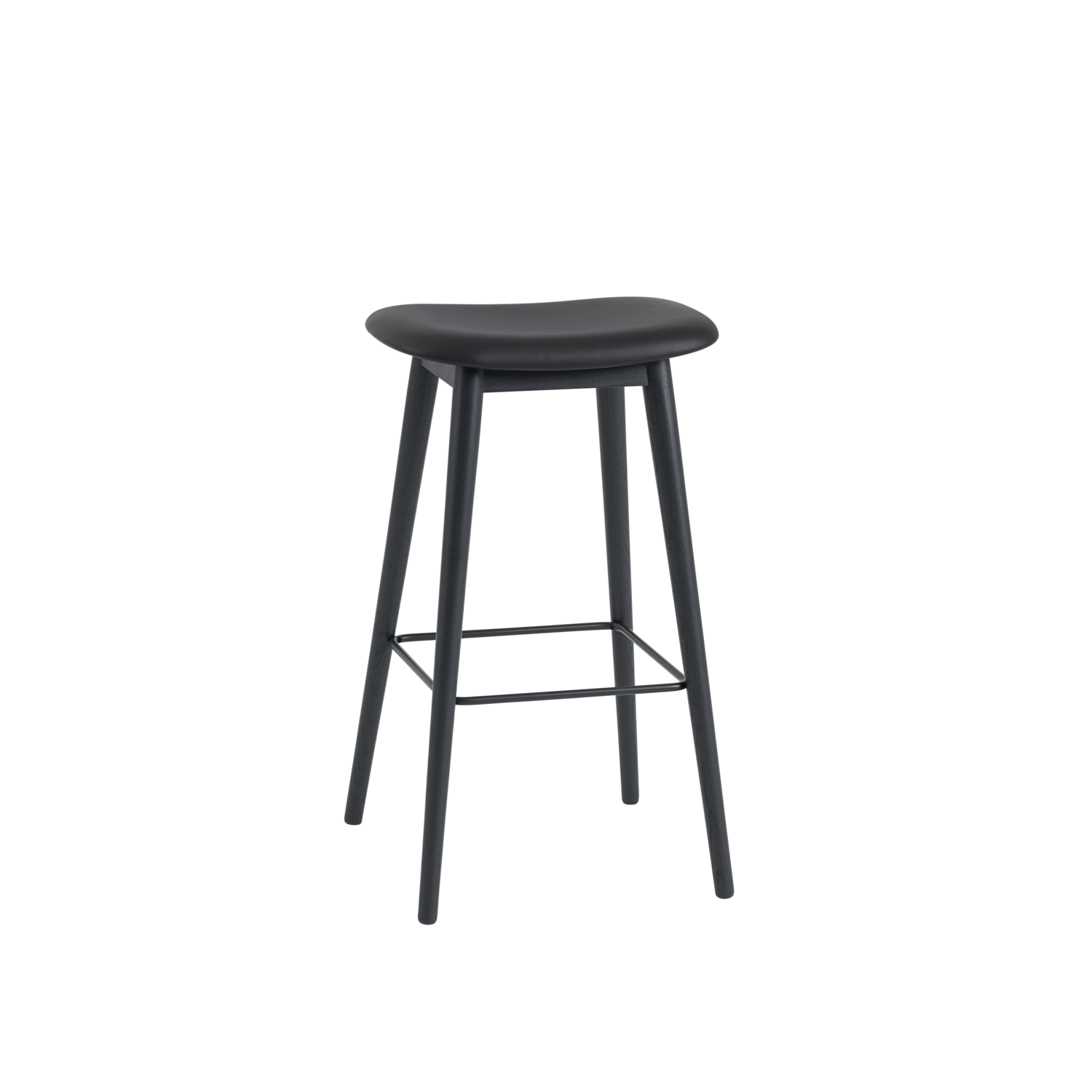 Fiber Stool / Wood Base (Upholstered Seat)