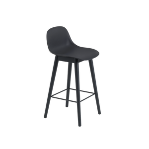 Open image in slideshow, Fiber Stool w. Backrest / Wood Base