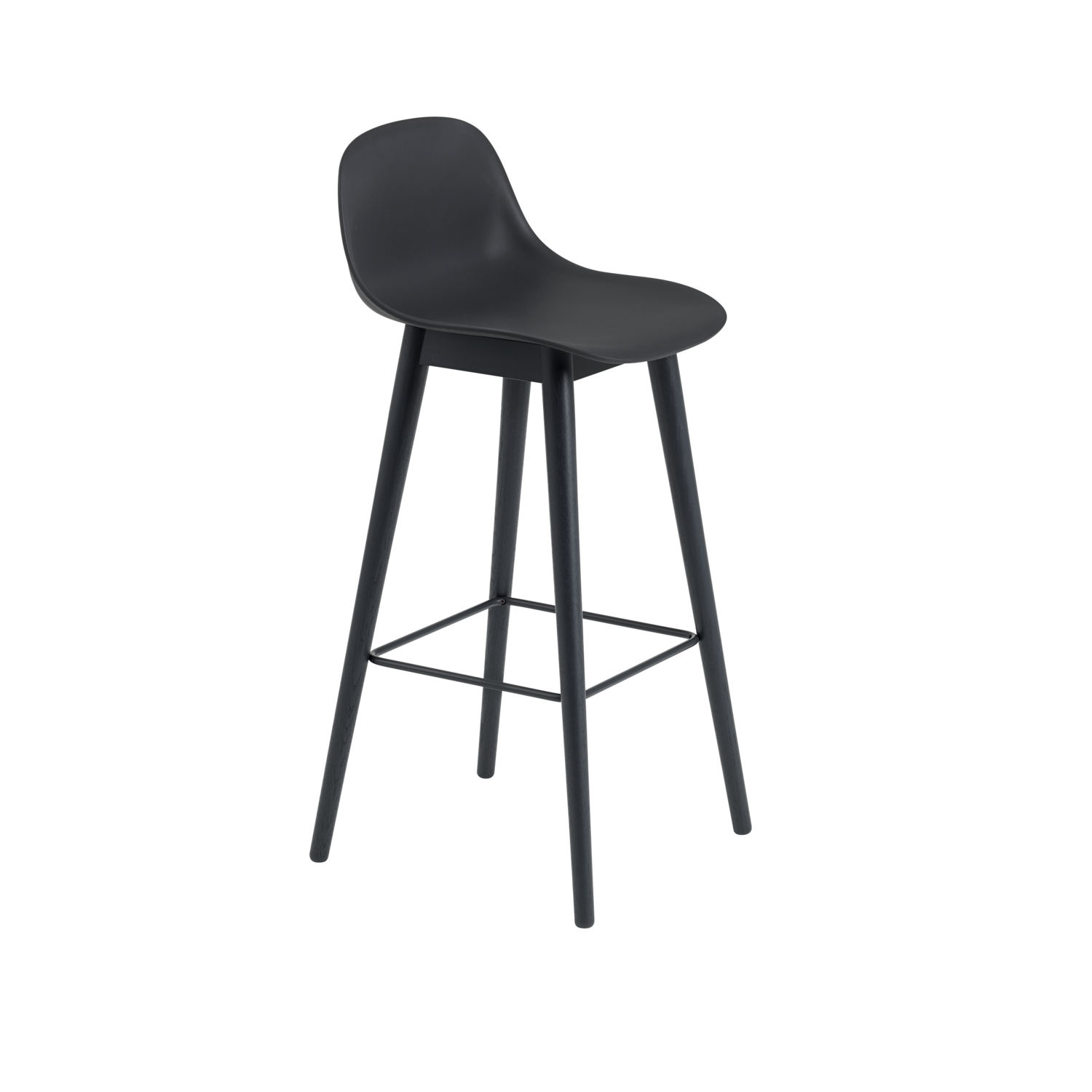 Fiber Stool w. Backrest / Wood Base
