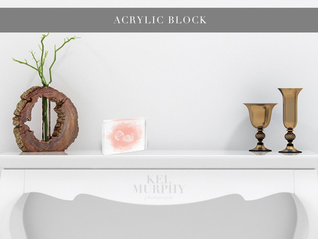 Acrylic Block with a custom ultrasound watercolor design on white foyer table