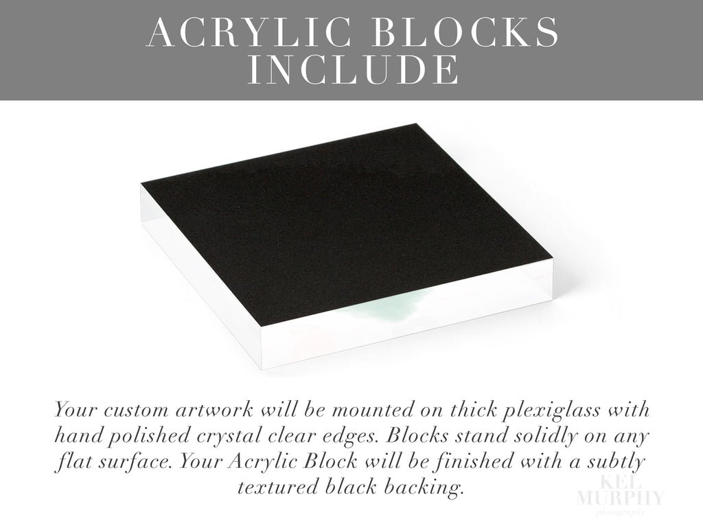 Acrylic blocks upgrade for ultrasound and embryo art prints includes