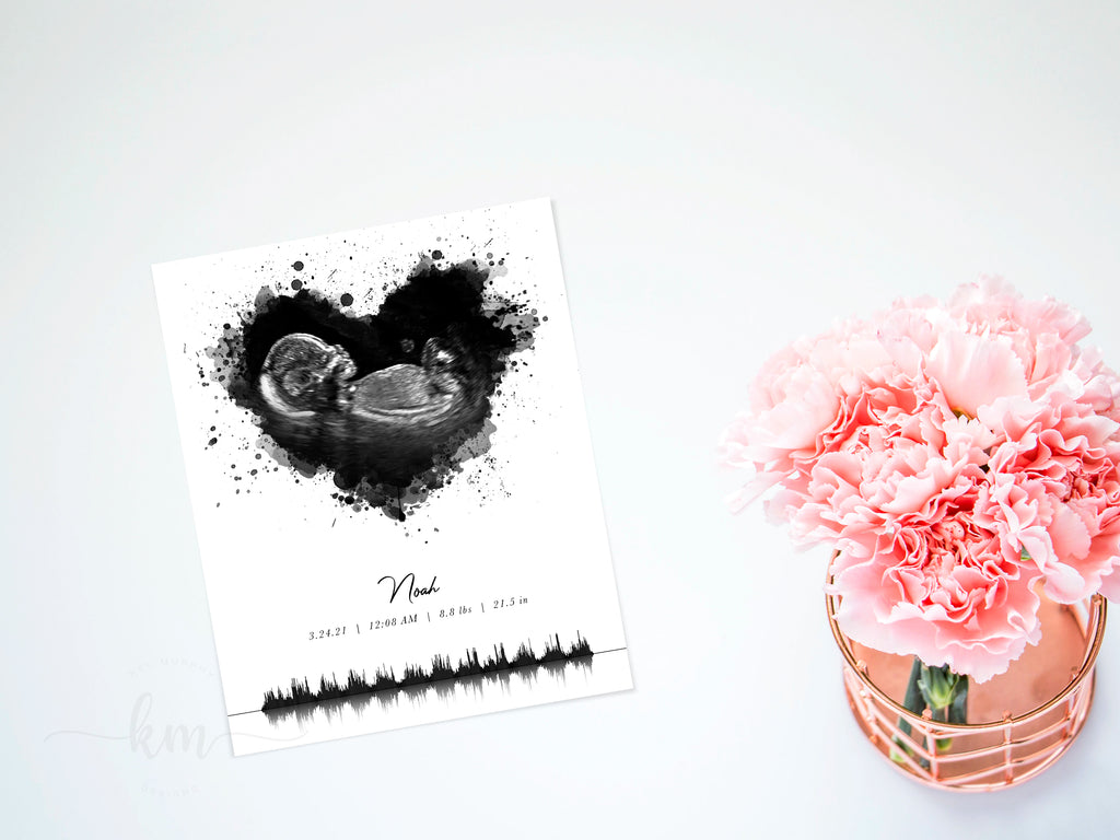 Custom sonogram art with baby's heartbeat art design customized with name and birth stats