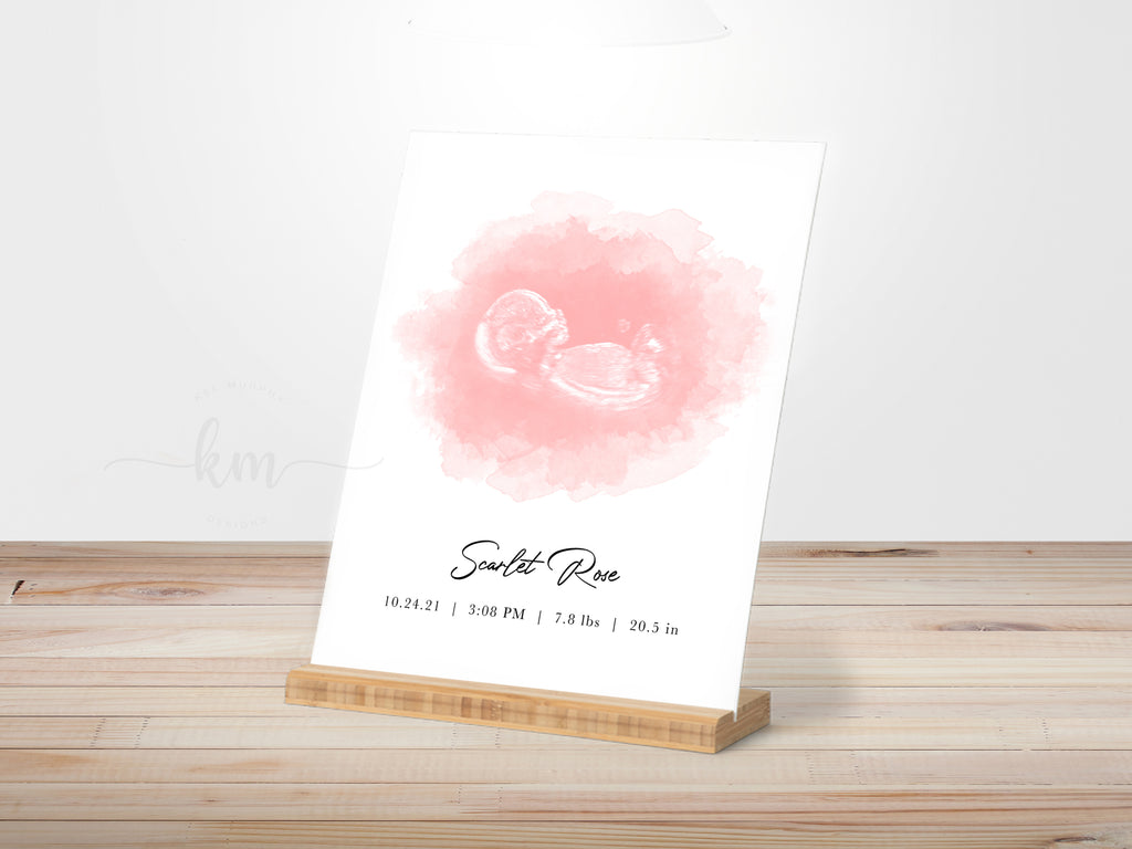 Custom watercolor ultrasound art on a gallery board with bamboo stand. Personalized with baby's name and birth stats. Best new mom gifts