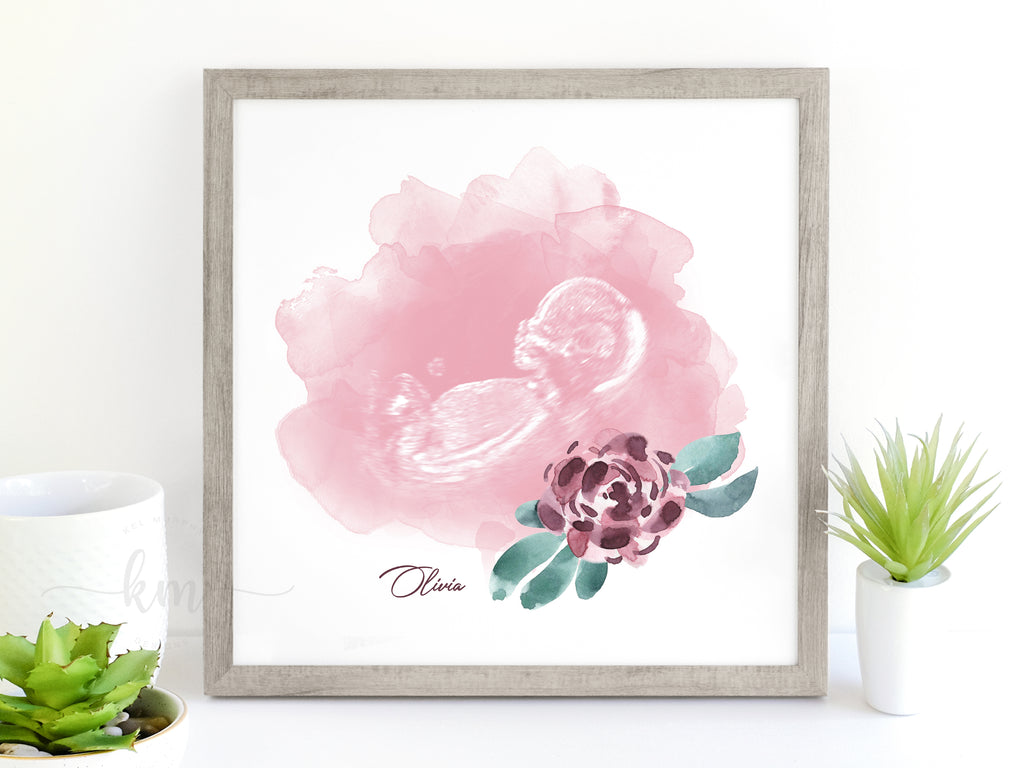 Custom watercolor ultrasound art in a gray square modern frame. Personalized with baby's name. Best new mom gifts
