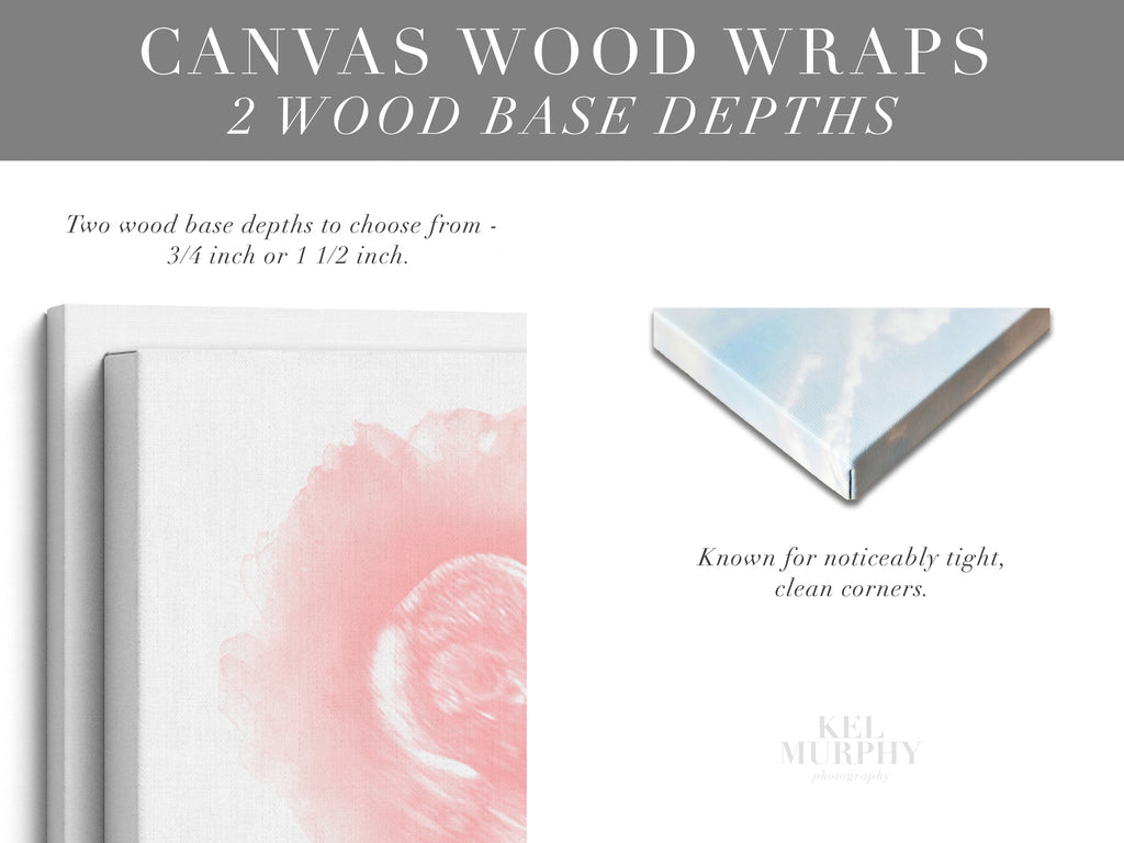 Canvas Wood Wraps 2 Depths for custom ultrasound and embryo art prints