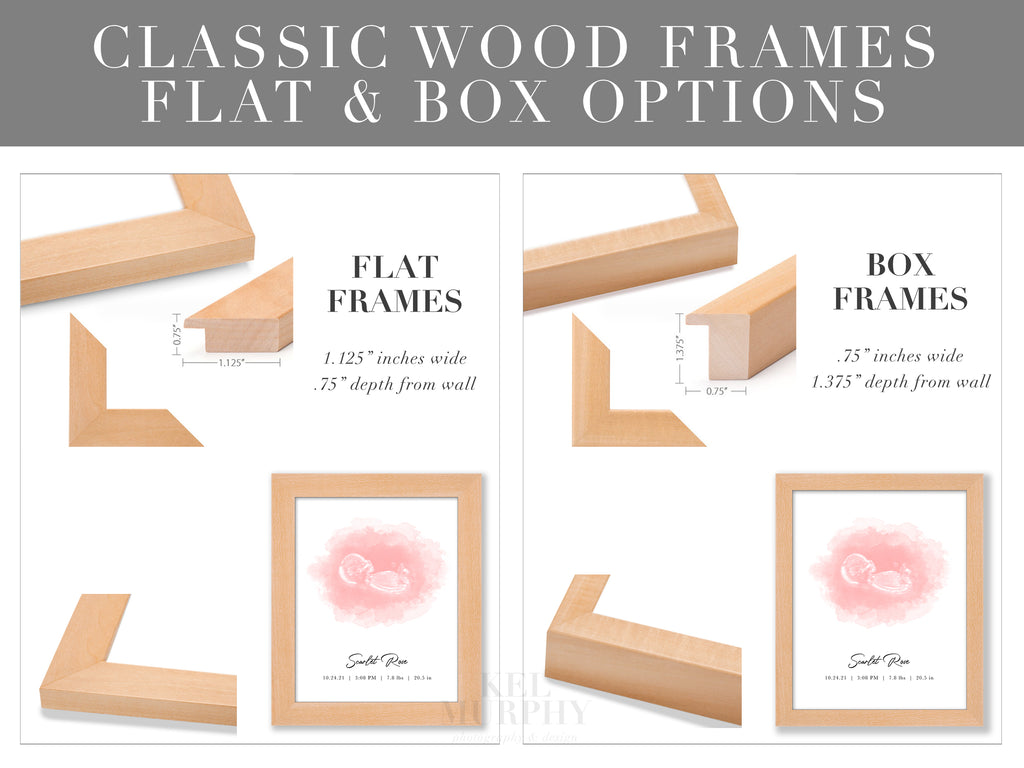 Classic Wood Frames flat box for embryo and ultrasound watercolor art prints