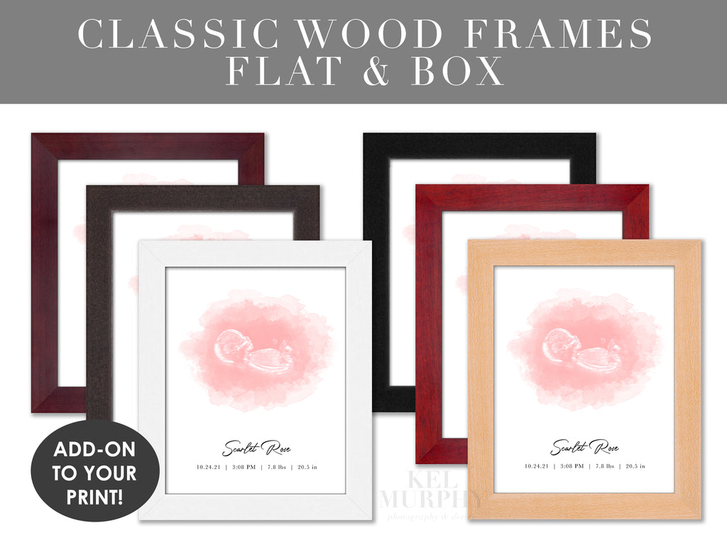 Classic Wood Frames for embryo and ultrasound watercolor art prints pregnancy gifts